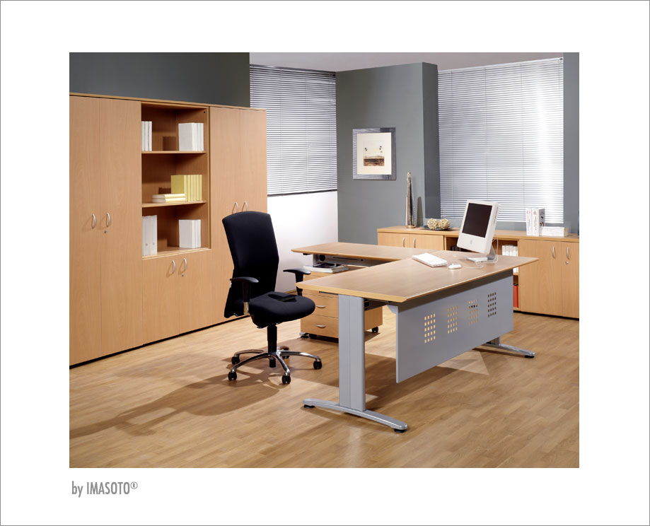 Office tables imasoto it develops a system of conduction of both vertical and horizontal wiring of large capacity effectively solving the growing use of greentooth Image collections